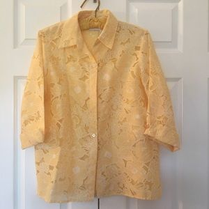 Alfred Dunner size 8 burnout yellow blouse